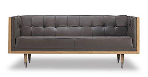 Kardiel Woodrow Midcentury Modern Box Loveseat, Grey Aniline Leather/Ash Ash Leather Sofa