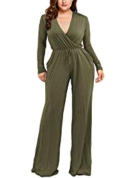 32d17619369 Women s Plus Size Sexy Deep V Neck Long Sleeve Jumpsuits Rompers with Pocket
