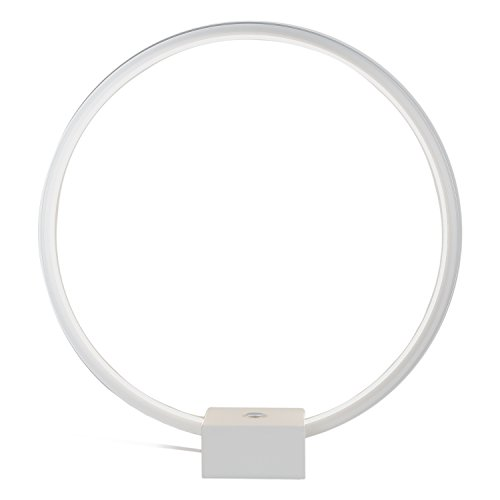Brightech - Circle LED Table & Desk Lamp - Bright Orb of Light with Built-in Dimmer Brings Sci-Fi Ambiance to Contemporary Spaces -12 Watts - White (Wood Contemporary Table Lamp)