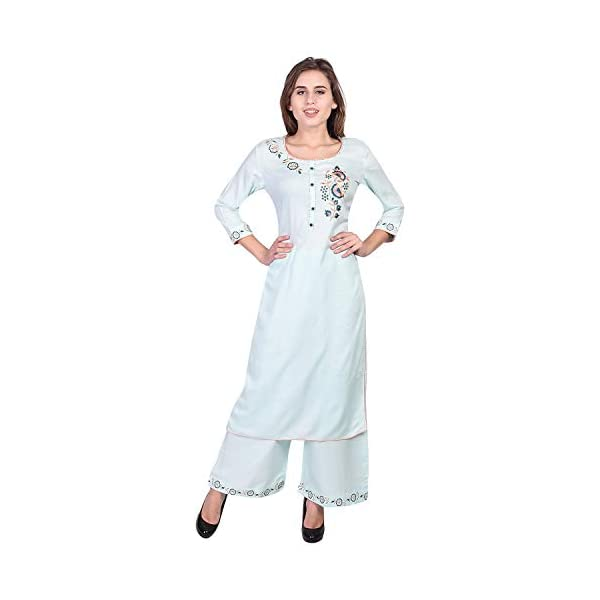 VIHAAN IMPEX Rayon Straight Embroidered kurti for women with palazzo set for women