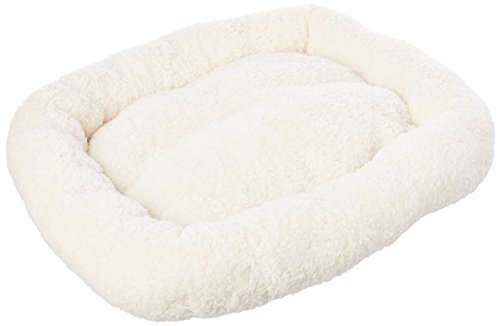 long rich HCT ERE-001 Super Soft Sherpa Crate Cushion Dog and Pet Bed, White, by Happycare -