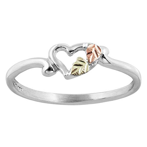 Black Hills Silver Heart Ring with 12k gold Leaves