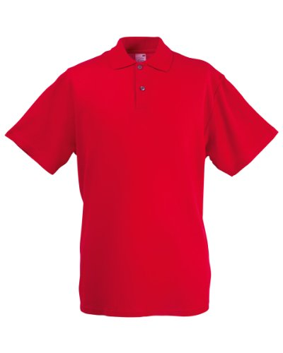 Herren Fruit Of The Loom Screen Stars Original Poloshirt Tshirt, 6 Farben-KOSTENLOSE LIEFERUNG XL,Red