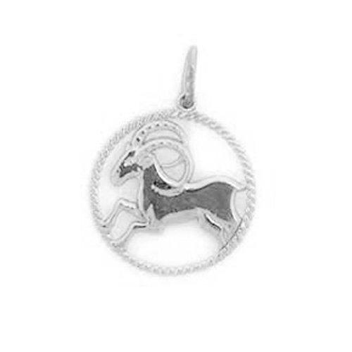 14k Solid White Gold Aries Zodiac Charm Pendant