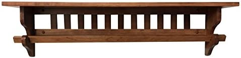 Hope Woodworking Mission Quilt Rack with Shelf 36 , Wall Mounted, Cherry Wood, Choose Your Own Stain 7 D
