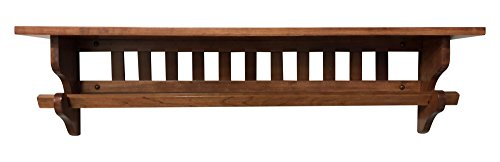 Cheap Hope Woodworking Mission Quilt Rack with Shelf 36″, Wall Mounted, Cherry Wood, Choose Your Own Stain 7″ D
