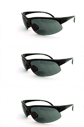 3 Pairs Men and Women Sunglasses with Bifocal Reading Lens Half Rim Sports Fashion - Bifocal Safety Reading Non Glasses