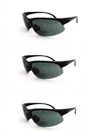 3 Pairs Men and Women Sunglasses with Bifocal Reading Lens Half Rim Sports Fashion - Prescription Cheap Bifocal Sunglasses