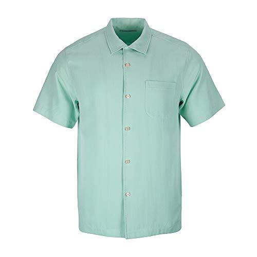 Havana Silk (Havana Breeze Men's 100% Silk Relaxed-Fit Camp Shirt Blue)
