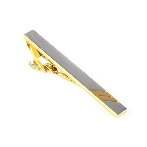 MENDEPOT Fashion Two Tone Plated Tie Clip Brushed Silver With Gold Stripes Tie Clip With Box ()