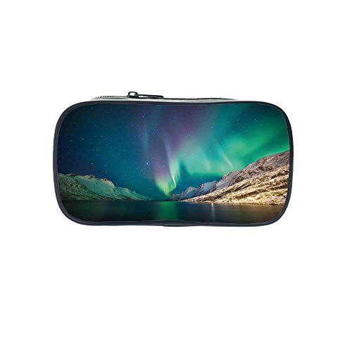 Diversified Style Pen Bag,Nature Decor,Mystical Northern Lights Above Rocky Hills Magnetic Poles Solar Space Panorama,Jade Green,for Children,3D Print Design by iPrint