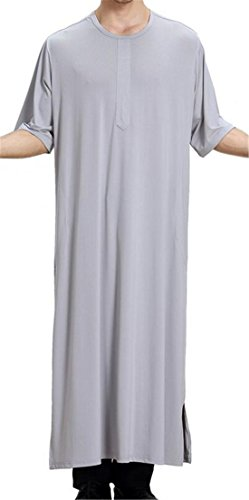 JXG-Men National Costume Arab Muslim Robes Dress Islamic Robes Abaya Grey US (Male Korean National Costume)