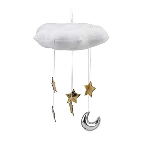 Home Decorative Supplies Baby Room Home Fecoration Creative Three-Dimensional Cloud Star Cloth Bedside Hanging Scene Layout Props(Dark Gray) (Color : White) by Tangyongjiao