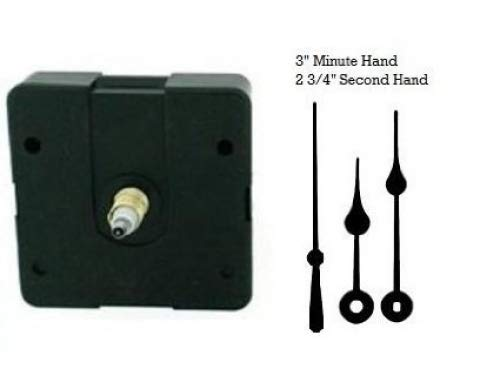 Quartz Clock Movement Kit with 3 Black Spade Hands for Dials up to 1//4