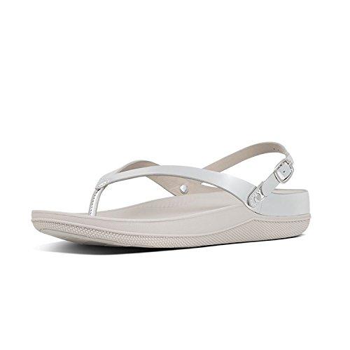 Plateado Abierta Leather Fitflop Punta Sandals Con Mirror Mujer silver Para Sandalias Flip ZZO5zwTq