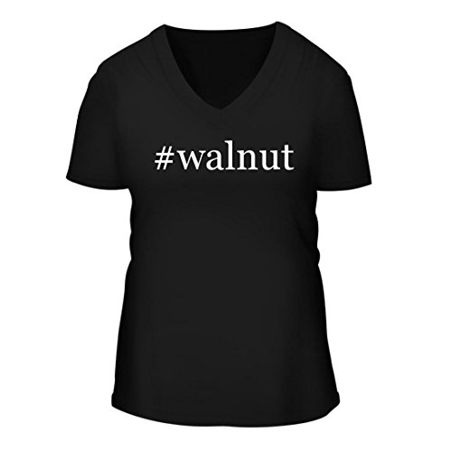 #walnut - A Nice Hashtag Women's Short Sleeve V-Neck T-Shirt Shirt, Black, Large (Black A/v Credenza)