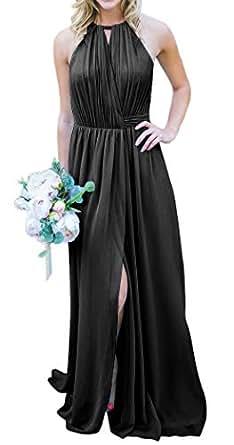 Jonlyc A-Line Halter Chiffon Long Wrap Bridesmaid Dresses with Slit Black 18W