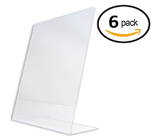T'z Tagz Brand 8.5 X 11 inch Clear Acrylic Plexi Sign Holders - Single Sheet Slanted Easel 8-1/2X11 (6) by T'z Tagz