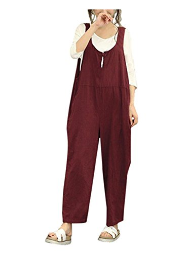 Taore Womens Plus Size Casual Strap Belt Bib Jumpsuit Overalls Sleeveless Rompers Haren Wide Leg Pants (L, - Jumpsuit Hoodie Red The Apparatus