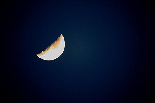 LAMINATED 36x24 inches Poster: Half Growing Moon Luna Sky Lu