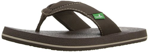 Sanuk boys Root Beer Cozy Flip Flop , Brown, 4/5 M US Big Kid