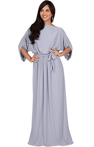 (KOH KOH Plus Size Womens Long Flowy Casual Short Half Sleeve with Sleeves Fall Winter Floor Length Evening Modest A-line Formal Maternity Gown Gowns Maxi Dress Dresses, Gray/Grey 3XL 22-24)