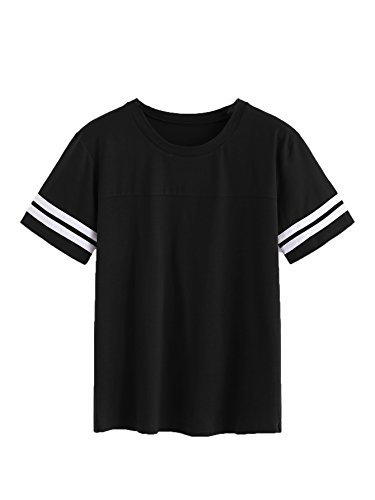Romwe Women's Casual Striped Contrast Short Sleeve Round Neck Top Tee T-Shirt Black Small