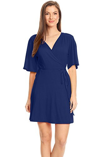 Women's Wrap Dress Flared Sleeve Reg and Plus Size Wrap Dress with Tie Belt - USA (Size Small, Royal ()