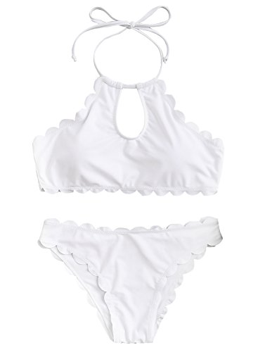 SOLY HUX Women's Sexy Keyhole Halter Top Scalloped Trim Bikini Set Swimsuit White M