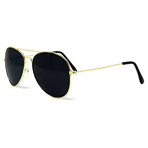 Big Mo's Toys Gold Dark Aviator Sunglasses Shades - 70's Style Adult Aviators Costume Glasses - 1 ()