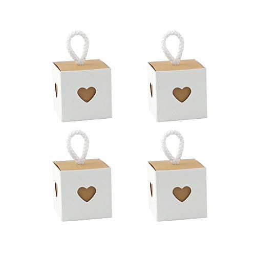 Morinostation 50pcs Candy Box with Heart Love Sweet for Wedding, Vintage Kraft Favor Box Candy Gift Bag for Travel Theme Party Wedding Birthday Bridal Shower (White) ()