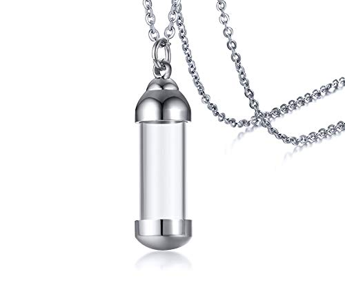 Mealguet Jewlery Stainless Steel Glass Openable Container Vial Tube Urn Keepsake Cremation Ashes Memorial Pendant Necklace