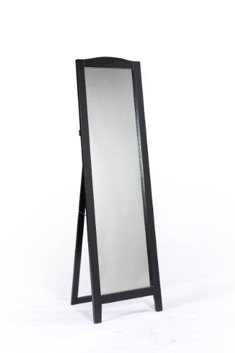 King's Brand Black Finish Wood Frame Floor Standing Mirror