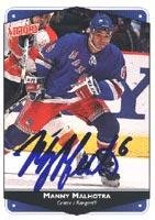 - Manny Malhotra New York Rangers 1999 Victory Autographed Card - Rookie Card. This item comes with a certificate of authenticity from Autograph-Sports. Autographed
