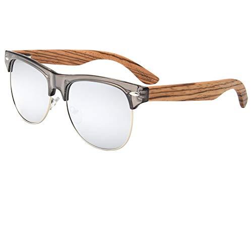 Ablibi Bamboo Wood Semi Rimless Sunglasses with Polarized Lenses in Original Boxes (Zebra Wood, Silver) by ABLIBI (Image #7)
