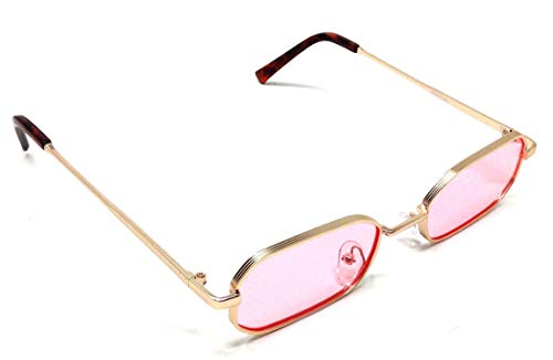 Slim Rectangular Luxury Classic Sunglasses (Gold Metallic Frame, Pink) by Dweebzilla
