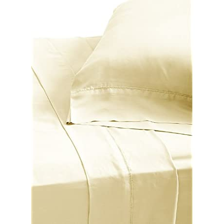 Yala LFT430CKIVORY Luxury Silk Habotai Fitted Sheet California King Ivory