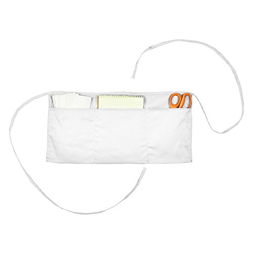 Waist Aprons Commercial Restaurant Home Bib Spun Poly Cotton Kitchen (3 Pockets) in White 100 Pack by DALIX (Image #3)