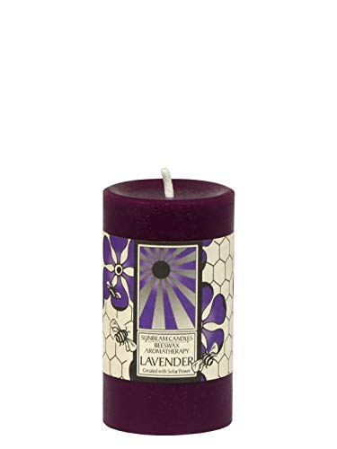 Sunbeam Candles Beeswax Lavender Aromatherapy Pillar - - Candles Aromatherapy Beeswax