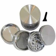 """GENERIC SILVER Four Piece NEW STYLE 2 1/4"""" Herb, Spice or Tobacco Pollen Grinder (As shown)"""