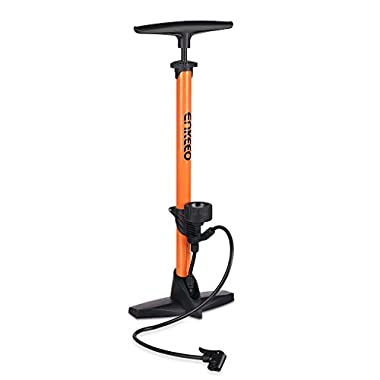 Enkeeo Bike Floor Pump 160 PSI Track Pump with Gauge Fits Presta & Schrader (No Valve Changing Needed) for Bike Tires Sports Balls Airbed and Water Toy ( Needle/Plastic Valve Adapter Included, Orange)