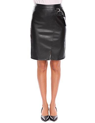 SHINE Fashion High Waist Faux Leather Skirt Bodycon Slim Fit Midi Pencil Skirt S-XXL