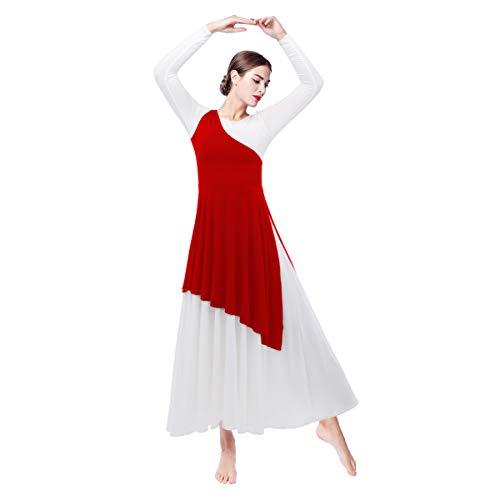 Women's Asymmetrical Irregular Hem Liturgical Praise Lyrical Church Dance Tunic Worship Dress Celebration of Spirit Long Sleeve Loose Fit Floor Length Circle Skirt Ballet Dancewear Red Large ()