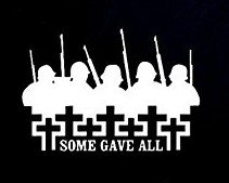 Some Gave All Soldiers Crosses Decal Vinyl Sticker|Cars Trucks Vans Walls Laptop| WHITE |7.5 x 5.25 in|CCI919 (Some Gave All All Gave Some Tattoos)