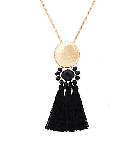 Isaloe Long Necklaces for Women Tassel Chandelier Drop Pendant Necklace (Tassel Drop Necklace)