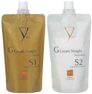 Yuko G-Cream Straight Damaged-Chemically Treated Hair - Solution & Neutralizer Set by Roomidea (Straight Solution)