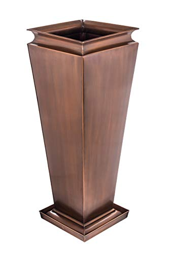 (H Potter Tall Planter Patio Garden Copper Indoor Outdoor Deck Flower w/Tray)