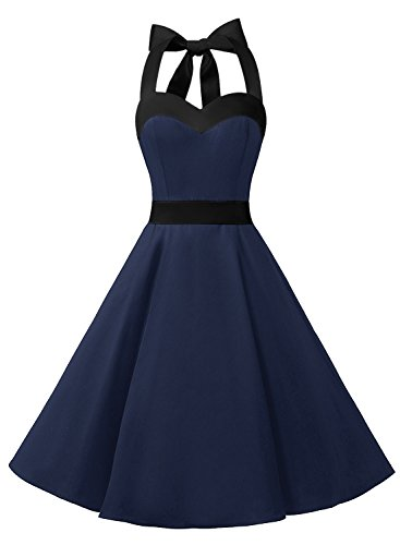 DRESSTELLS 50s Retro Halter Rockabilly Bridesmaid Audrey Dress Cocktail Dress Navy Black L