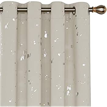 Deconovo Silver Dots Printed Blackout Curtains Grommet Curtains Room Darkening Cream Curtains for Kids Room Cream 52W x 84L 2 Panels