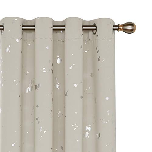 (Deconovo Silver Dots Printed Blackout Grommet Curtains Room Darkening Cream Curtains for Kids Room Cream 52W x 84L 2 Panels)